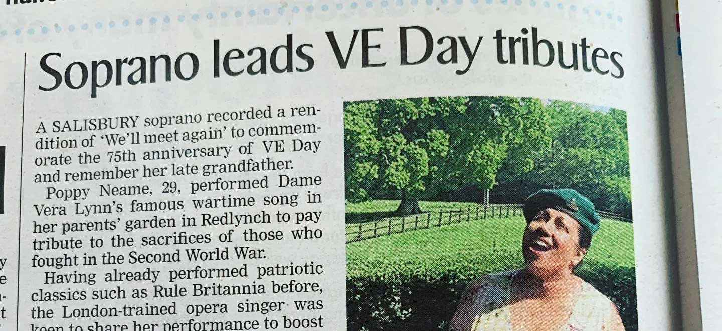 Salisbury soprano performs 'We'll meet again' to mark VE Day